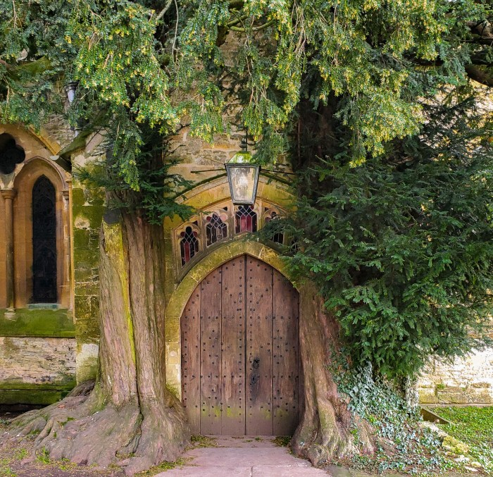 the lord of the rings door at st. edwards church in stow on the wold cotswolds england framed by two ancient yew trees