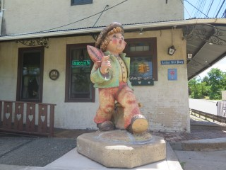 """The Merry Wanderer"" strolls along Arthur Kill Platz (Arthur Kill Road). The world's largest Hummel was brought to Killmeyer's Old Bavaria Inn during 2014. Photo: Meredith Arout for Life-Wire News Service."