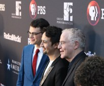 Filmmaker Alex Horwitz, Lin-Manuel Miranda, and author Ron Chernow. Photo: Meredith Arout for Life-Wire News Service.