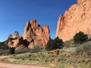 Hiking at Garden of the Gods near Colorado Springs, Colorado. Rock climb or hike the trails.