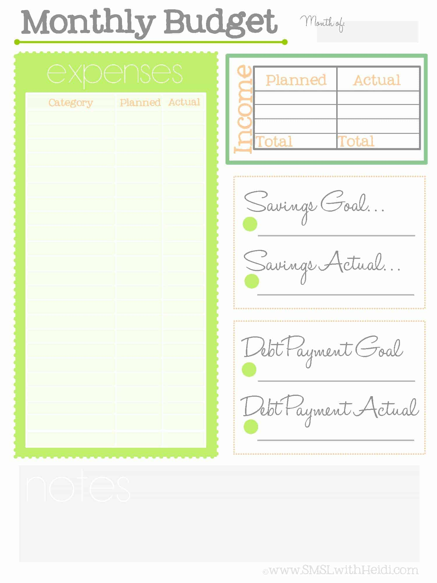 Monthly Budget Printable Sheets