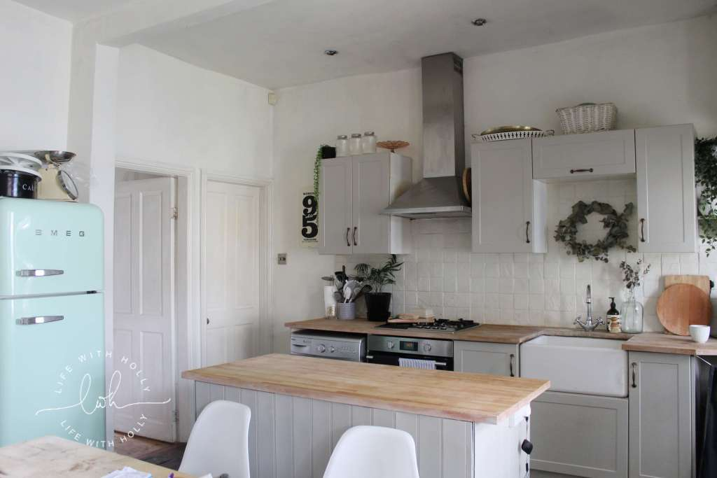 Grey Kitchen with Wooden Worktops - Easy Kitchen Updates by Life with Holly