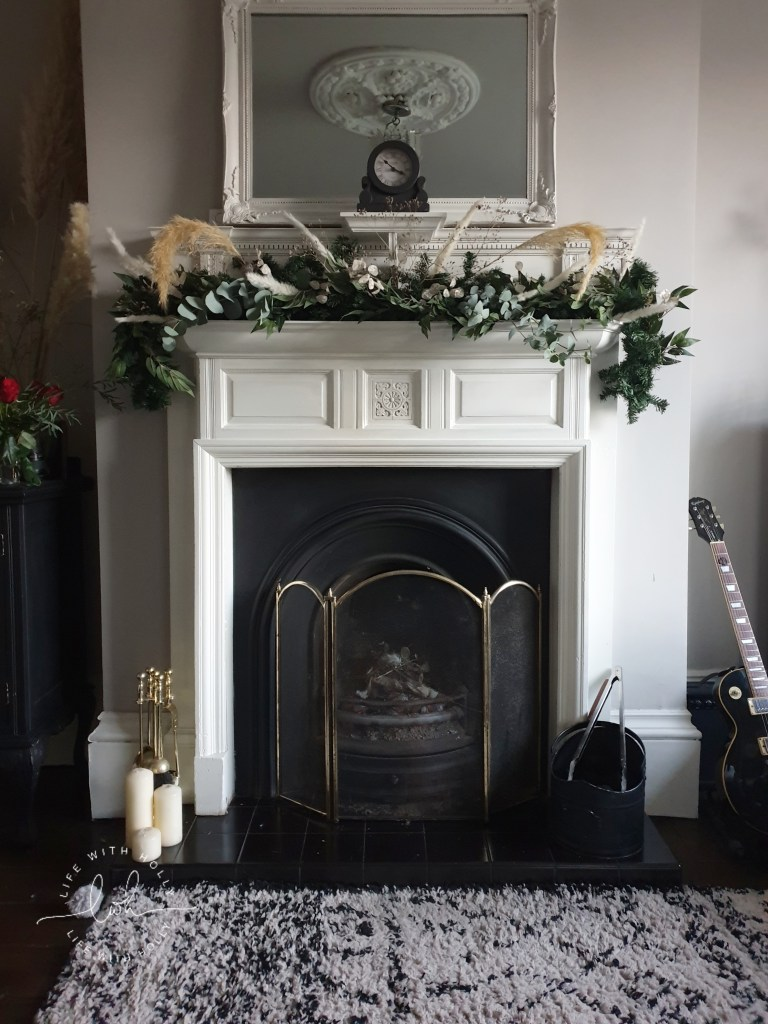 Christmas-Mantelpiece-Garland-with-Faux-Foliage-Tutorial-by-Life-with-Holly - Victorian Fireplace at Christmas