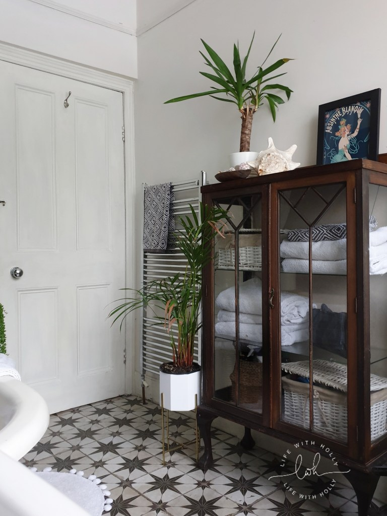 Antique Cabinet for Linen Store Modern Victorian Bathroom with Dark Wood Wall Panelling by Life with Holly