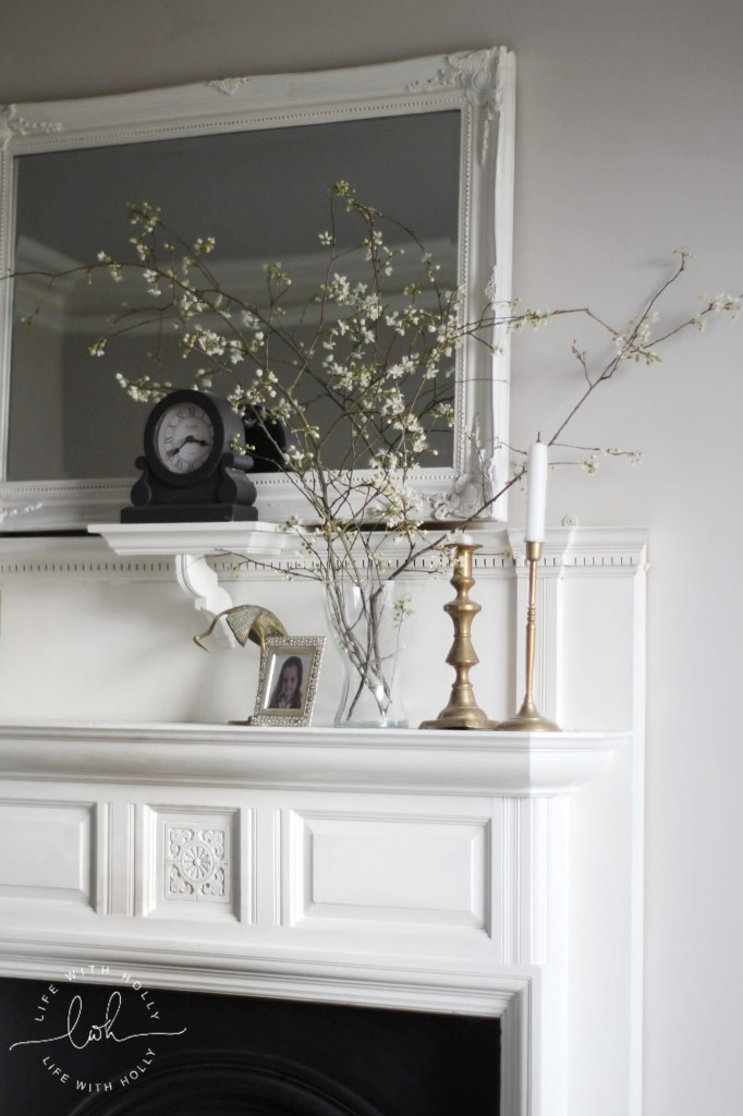 Blackthorn Blossom mantelpiece Styling by Life with Holly