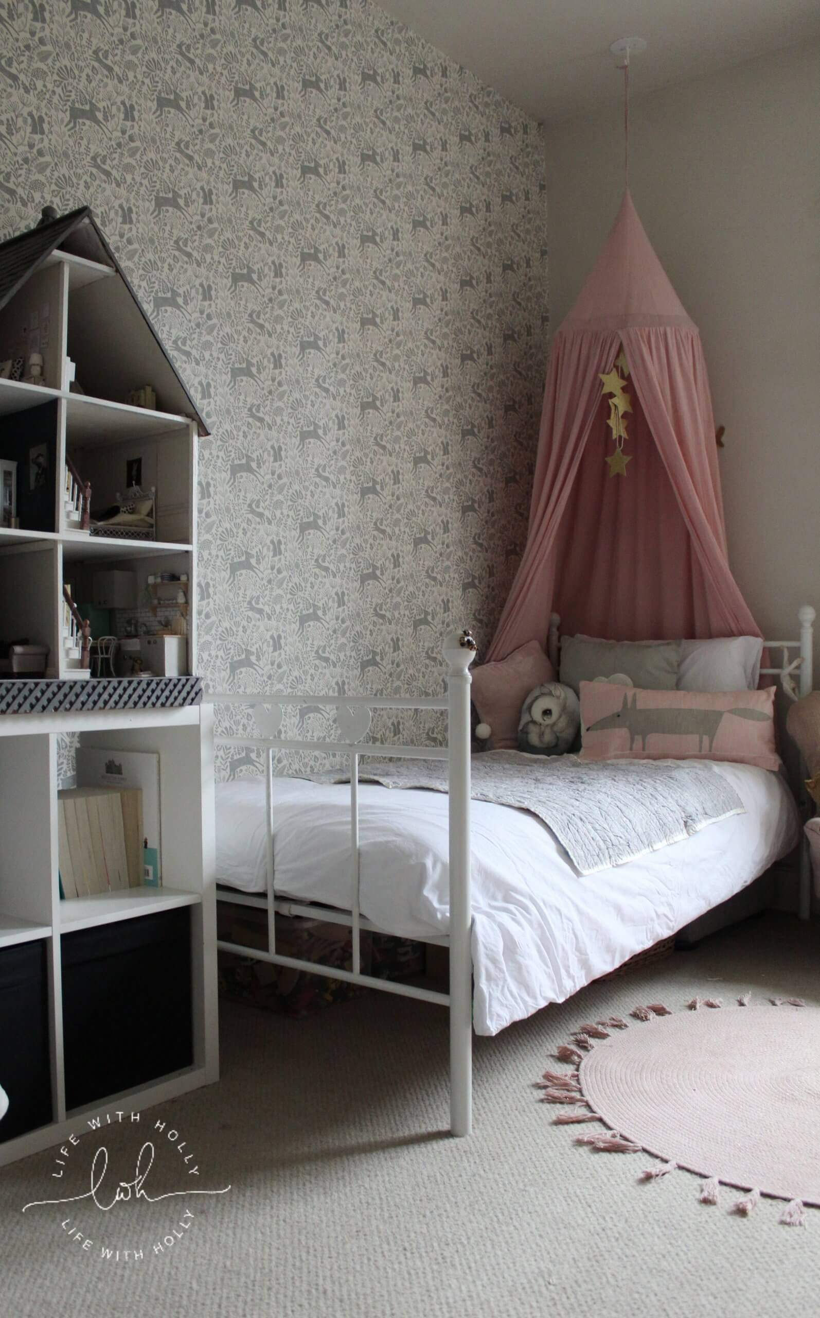 Vintage Pink and Grey Girls Bedroom by Life with Holly