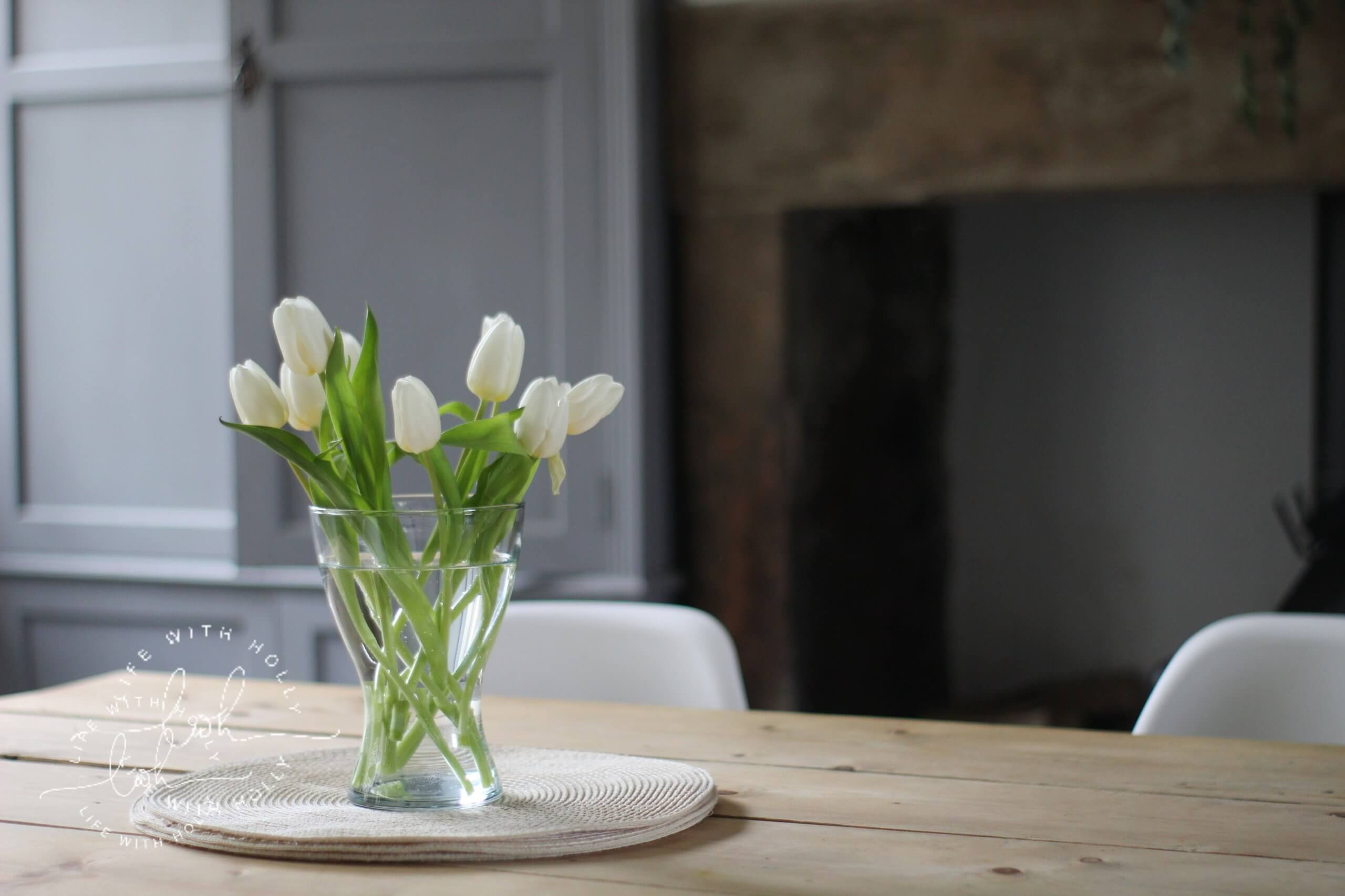 White Tulips in a vase by Life with Holly