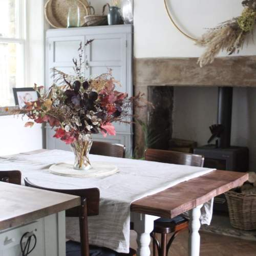 Rustic Dining Room with Autumn Flower Display - Autumnal Foraging Tips by Life with Holly