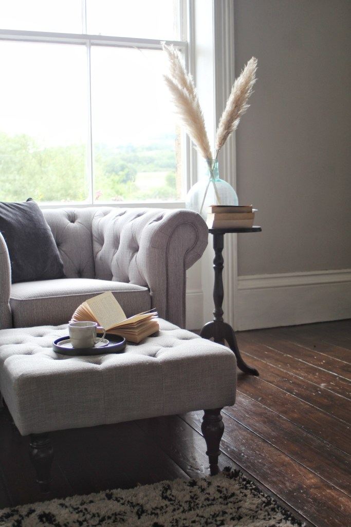 Grey Chesterfield Chair in Victorian home by Life with Holly - Slow Reno