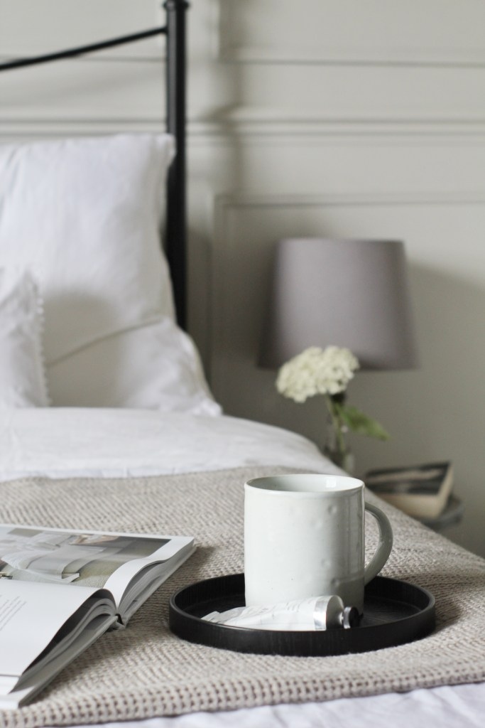 Rustic Oka Mug on Bed with White Company Bedding by Life with Holly - The Art of the Slow Renovation