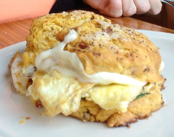 Scone with egg and cheese