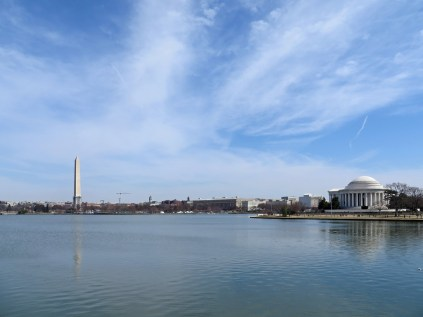 The Tidal Basin, with the Washington Monument and the Jefferson Memorial at left and right, respectively.