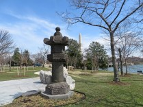 The Japanese Lantern Statue, marking the first cherry blossom tree planting.