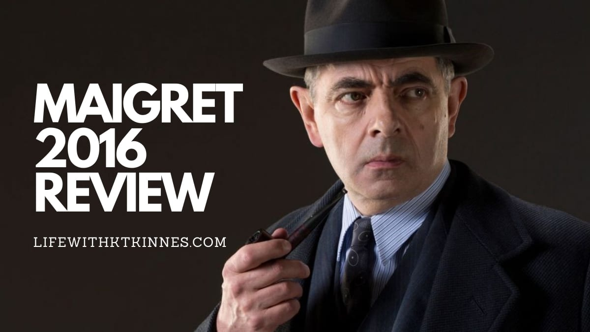 Rowan Atkinson as Maigret against a black background, with the Words Maigret 2016 written in white to the left.