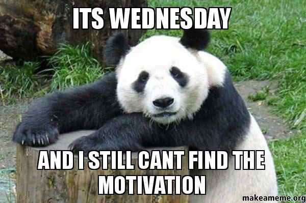 "Panda Meme from makeameme.com - Panda in background with the words ""It's Wednesday and I still can't find the motivation"" in the foreground."