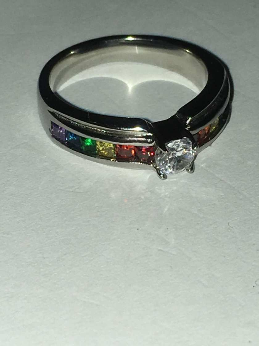 Rainbow engagement ring for a promise to me