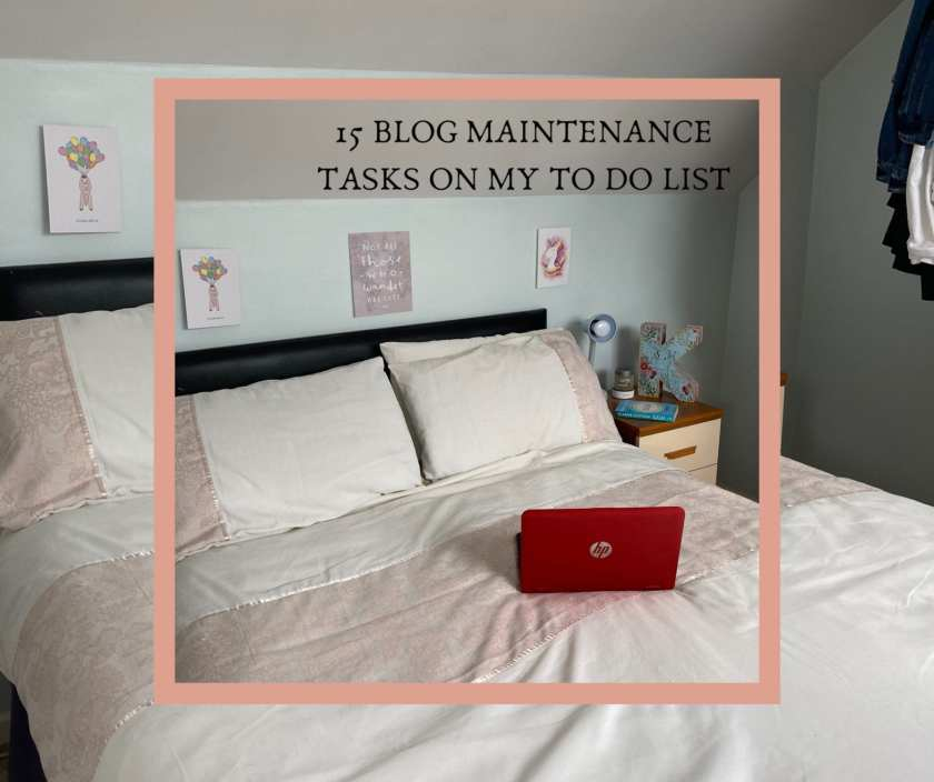 "A red HP Laptop on a white covered double bed, with the words ""15 Blog Maintenance Tasks On My To Do List"" written in black in the top right"