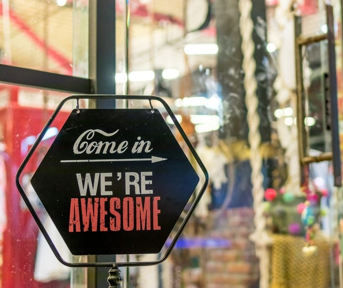 """A UK small business with a sign on the door saying ! Come in, we're awesome!"""""""