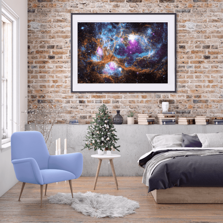 Bedroom with nebula wall art and small Christmas tree