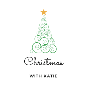 Green spiral Christmas Tree centred, with Christmas With Katie below it in black writing.