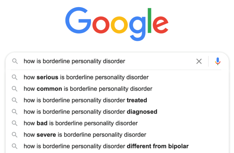 "Google search results for ""how is borderline personality disorder"" for BPD post"