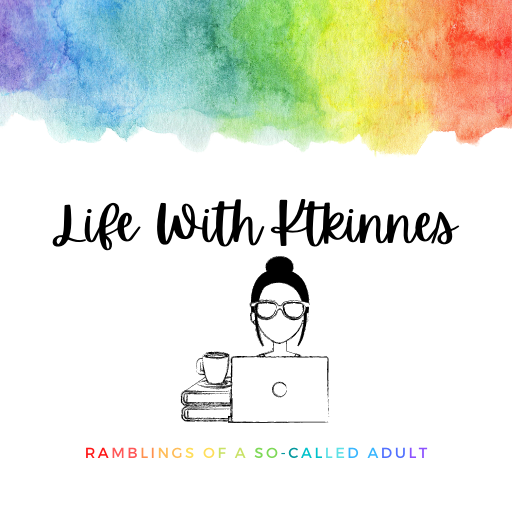 Life With Ktkinnes rainbow gradient blog header with a reverse rainbow gradient blog button and a line drawing of a girl at a laptop