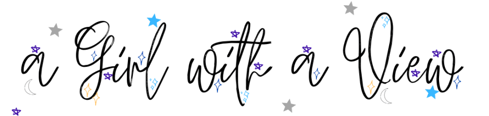 Black writing against a white background reading A girl with a view with blue, purple and grey stars dotted around the writing. A Girl With A View March 2021 Advertisers