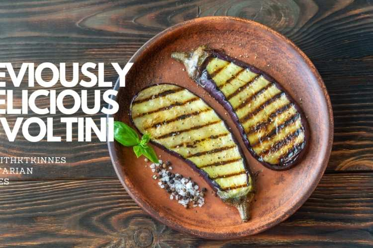 grilled aubergine on a plate with the words deviously delicious involtini in white writing.