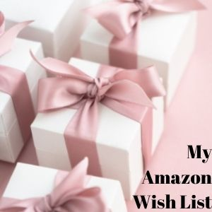 white presents wrapped with a pink bow on a pink background with the words my amazon wish list in the bottom right corner.
