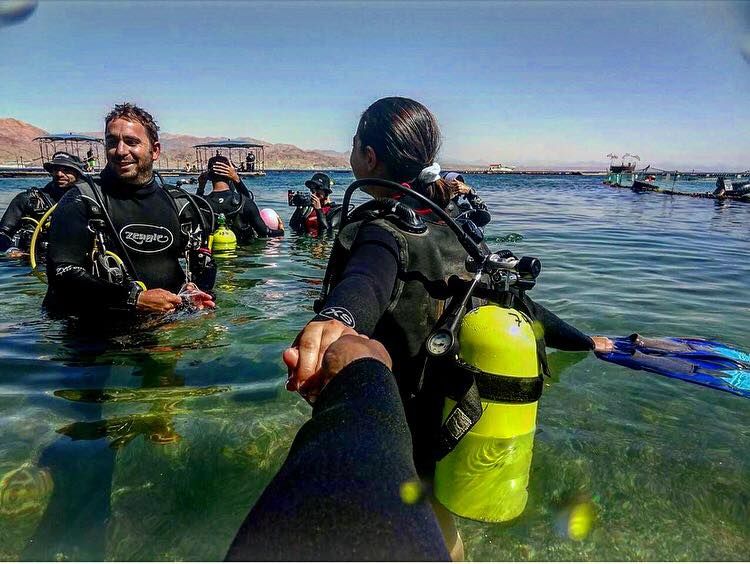 Dolphin Reef in Israel, scuba-diving.