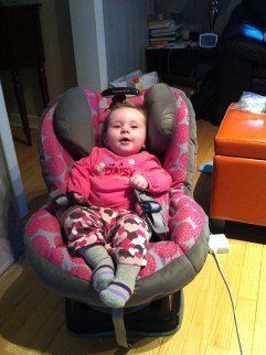 Lauren Loving her new car seat, and saying thank you to everyone for helping mommy and daddy to buy it!