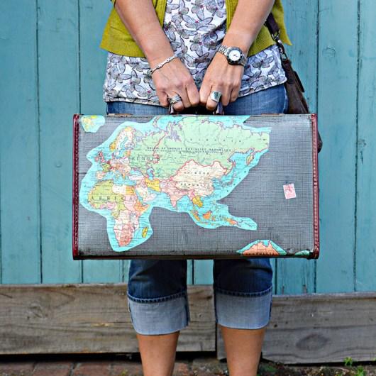 Brilliant Vintage Map Suitcase - HMLP 51 Feature