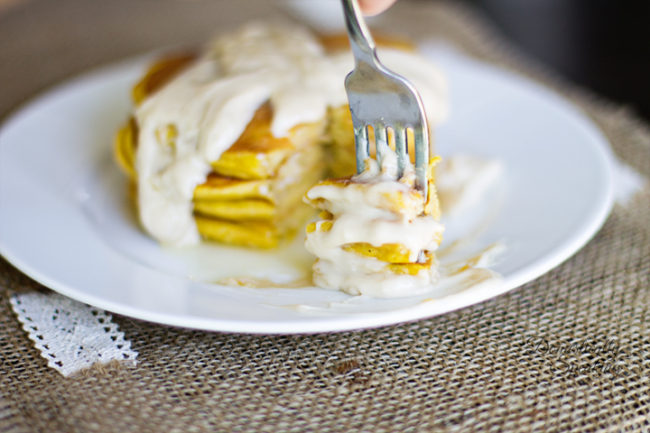 Pumpkin Spice Pancakes with Cream Cheese Maple Icing - Domestically Speaking - HMLP 102 - Feature