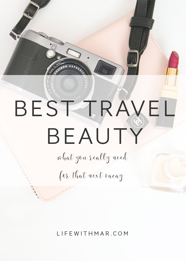best travel beauty products, the best TSA-approved makeup and beauty items you shouldn't leave on your next trip without! Click to see my must-have travel beauty picks.