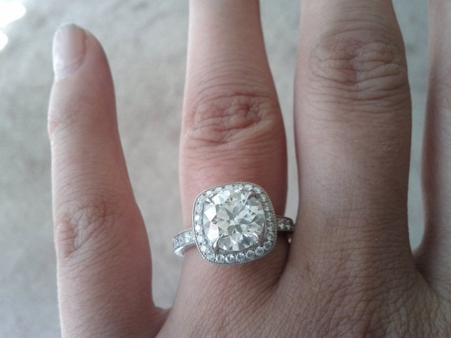 Oliver Smith 18k white gold engagement ring, French Pave-set diamonds on cushion-cut halo