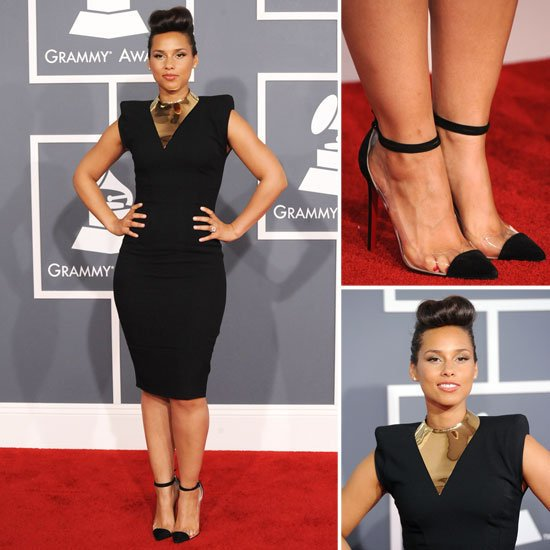 alicia keys 2012 grammys toe cleavage showing some side-toe