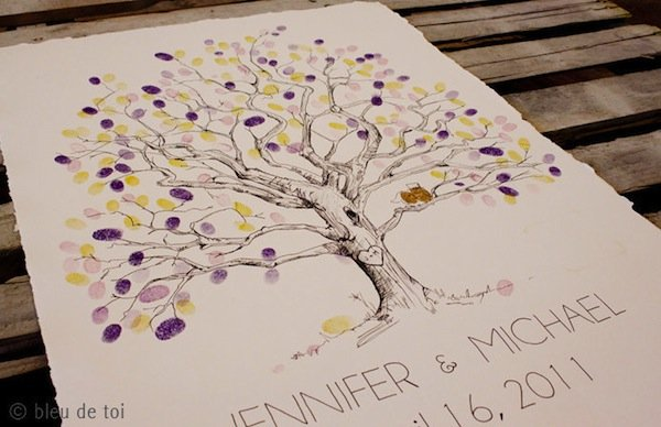 wedding guestbook thumbprint tree