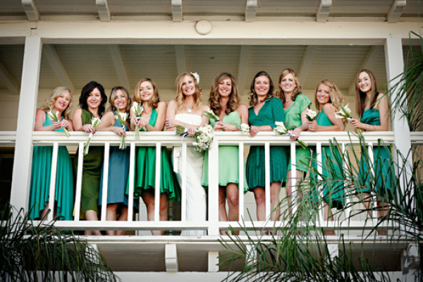 green mismatched bridesmaids