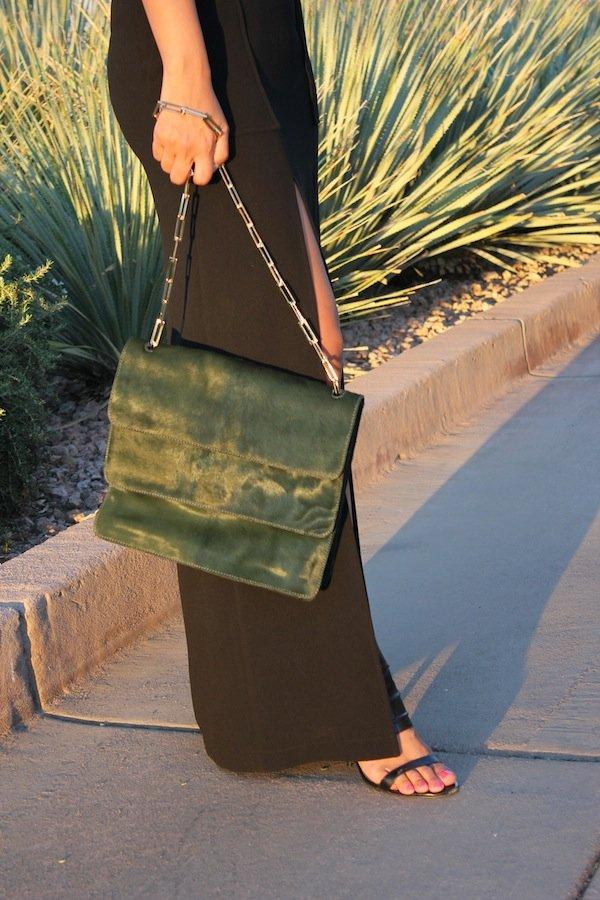 stuart weitzman green pony hair bag