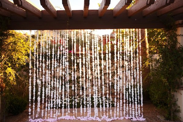 ombre wedding flower curtain © Jane Z Photography