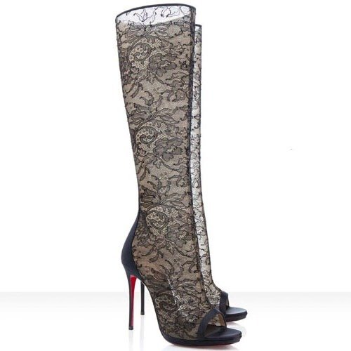 Christian Louboutin lace and satin alta knee high boot