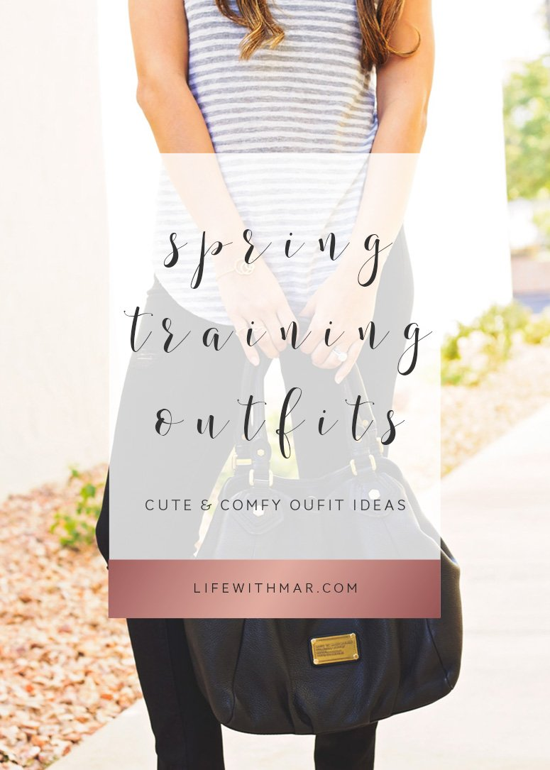 What to wear to spring training games. Cute and comfy outfit ideas for those spring training games!