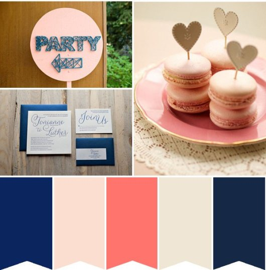 coral and navy weddings