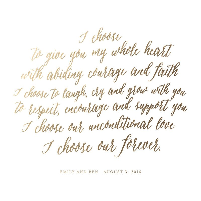 minted custom vows print