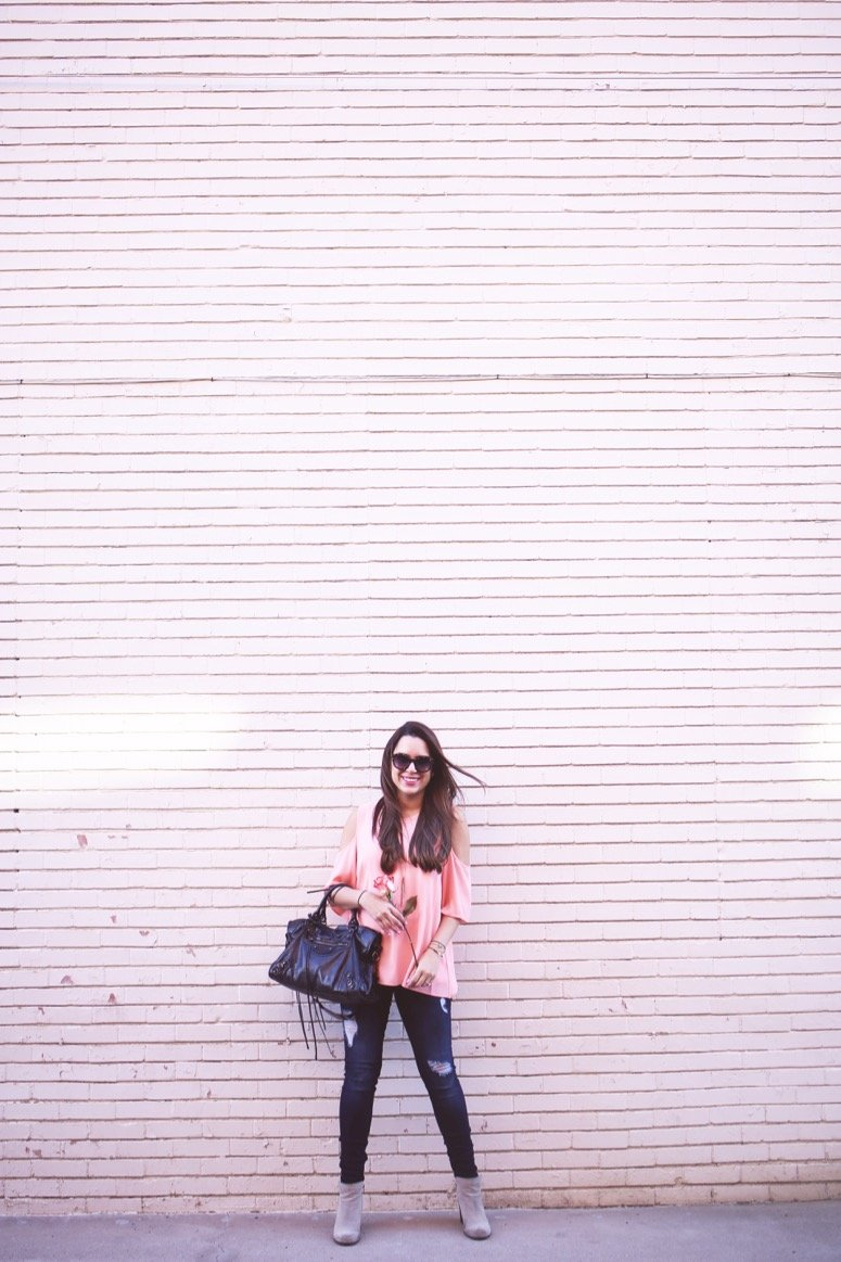 pink cold shoulder top, casual valentines day outfit idea