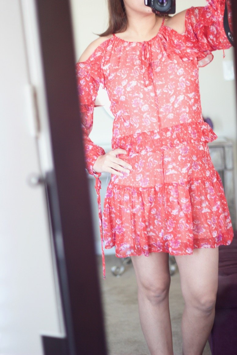 Adelyn Rae cold shoulder dress in my May trunk from Trunk Club. Click to see what else was in this trunk from Trunk Club