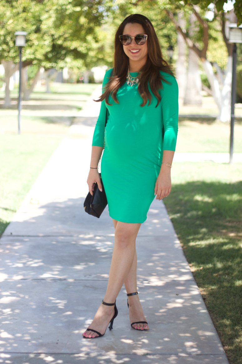Cute ASOS Maternity dress green open back. Click to see the back of this dress!