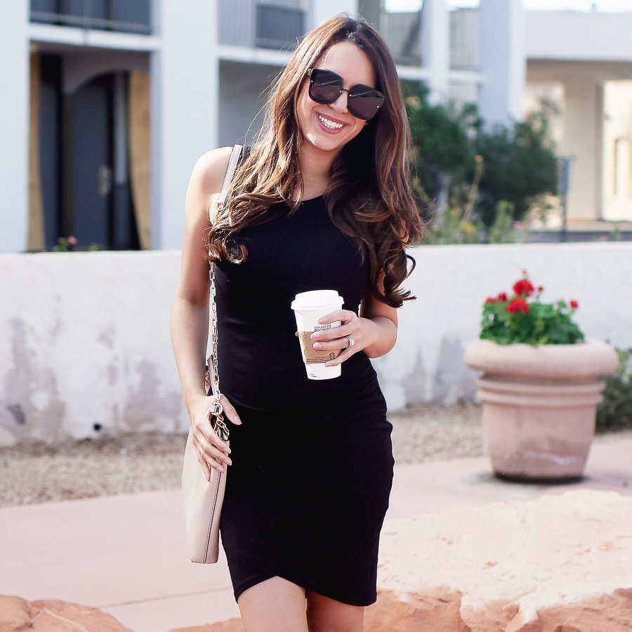leith ruched body con dress the perfect LBD under $100!