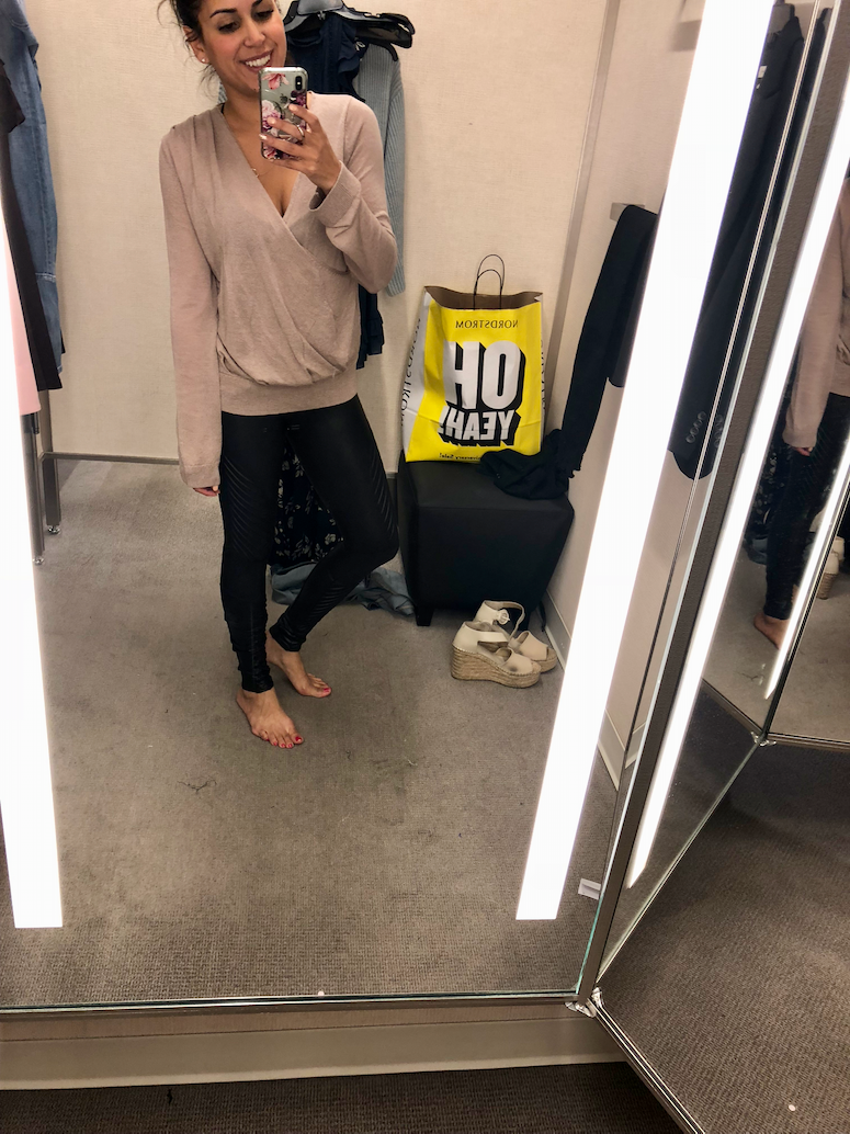 2018 nordstrom anniversary sale dressing room diaries and try on haul Spanx faux leather leggings