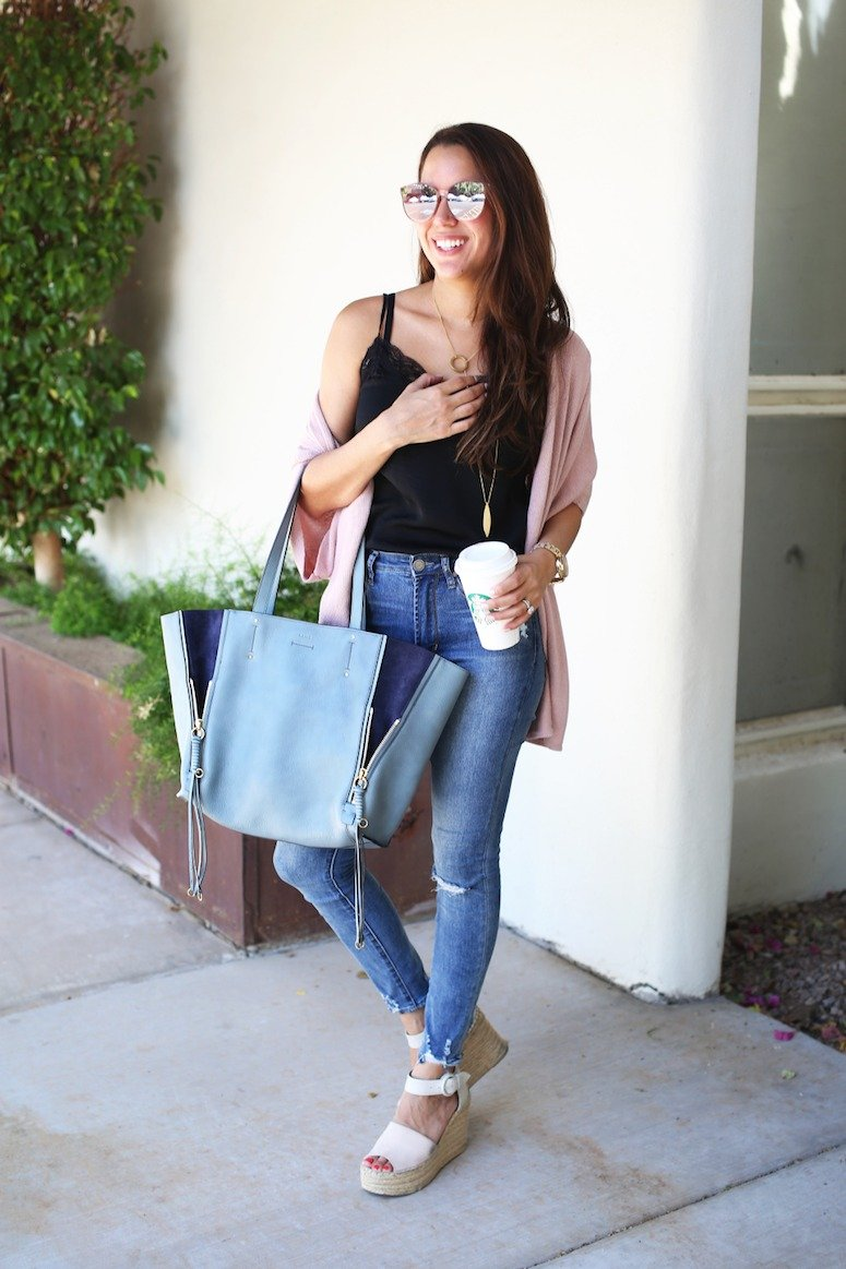 how to wear a lace cami + cardigan trend (and why it's your new go-to outfit formula!!)